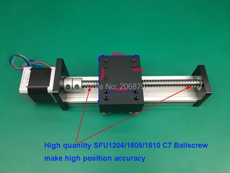 100mm Effective Length SFU1204 1605 1610 12mm 16mm C7 Ball Screw SGK Linear Rail Guide Sliding