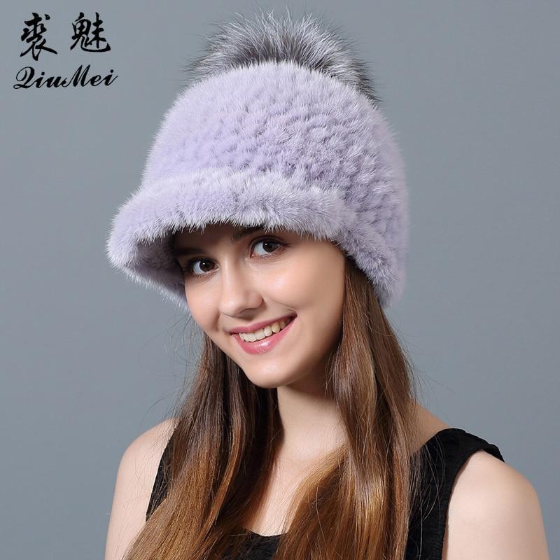Čepice značky QiuMei Dámské Kšiltovky Originální Mink Fur Beanies se Stříbrnou Fox Fur Pompom New 2018 Dámské Kulichy Knitted Natural Fur