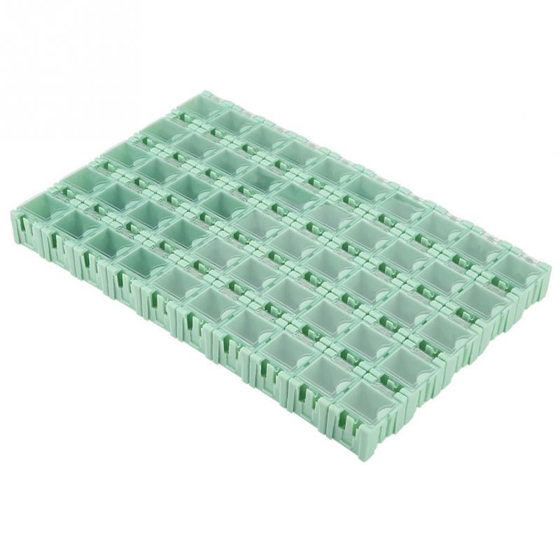 50 sztuk zielony SMT SMD pojemnik pojemnik pudełka do przechowywania elementów elektronicznych samoblokujący klamra Mini futerał do przechowywania Patch Box