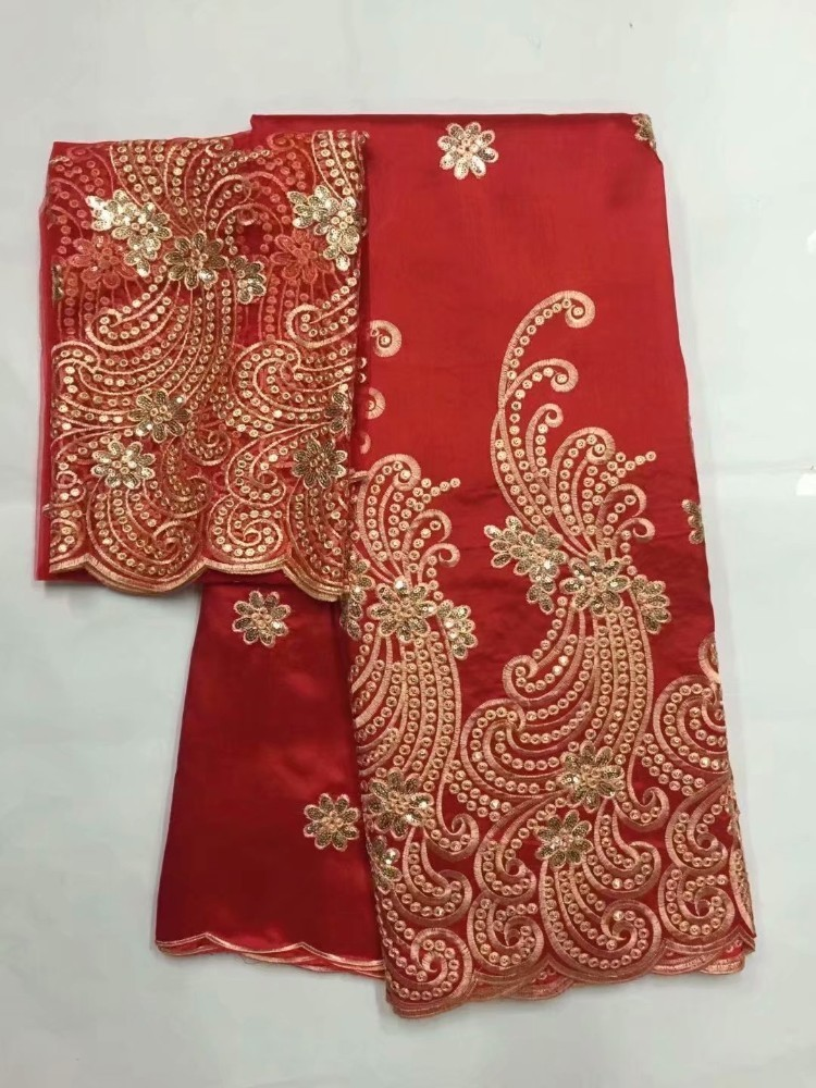 Image 2 - African George Fabric High Quality Indian Raw Silk George  Wrappers Hot Nigerian Lace Fabrics Set with Blouse for Wedding  5 2yardLace