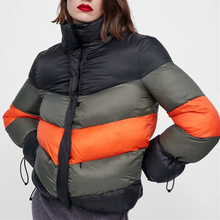 Color Block Striped Women's Winter Jacket Casual Striped Thick Warm Parka Women Loose Cotton Bubble Padded Coat Outerwear Parkas