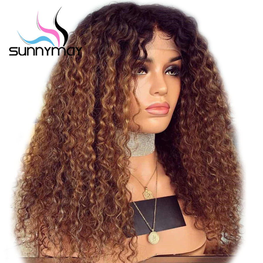 Sunnymay Curly Human Hair Wig With Baby Hair Pre Plucked Lace Front Human Hair Wigs Remy Brazilian Wigs Glueless Brown Ombre Wig