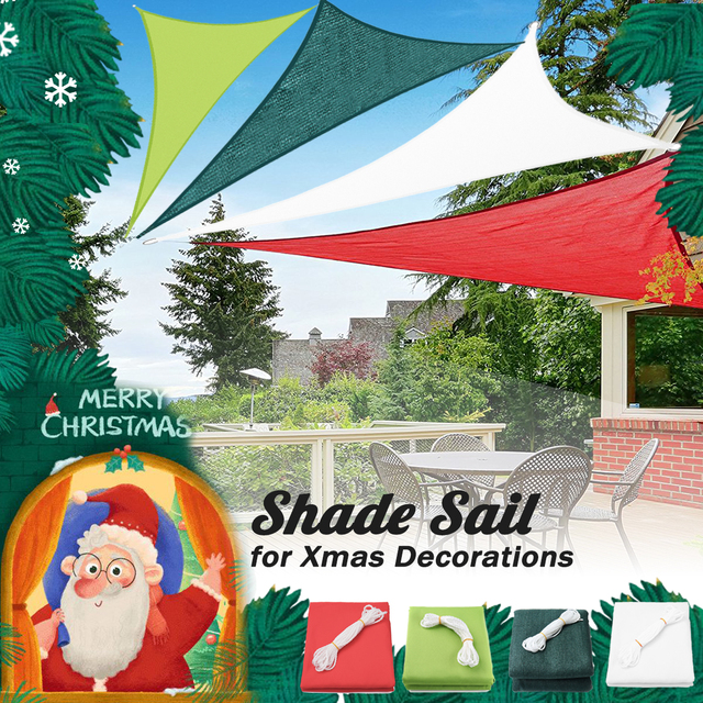 3x4x5m 300d Pet 185gsm Hdpe Shade Sail Waterproof Triangle Sun Awning Tarp Canopy Ornament Decoration Red Green White