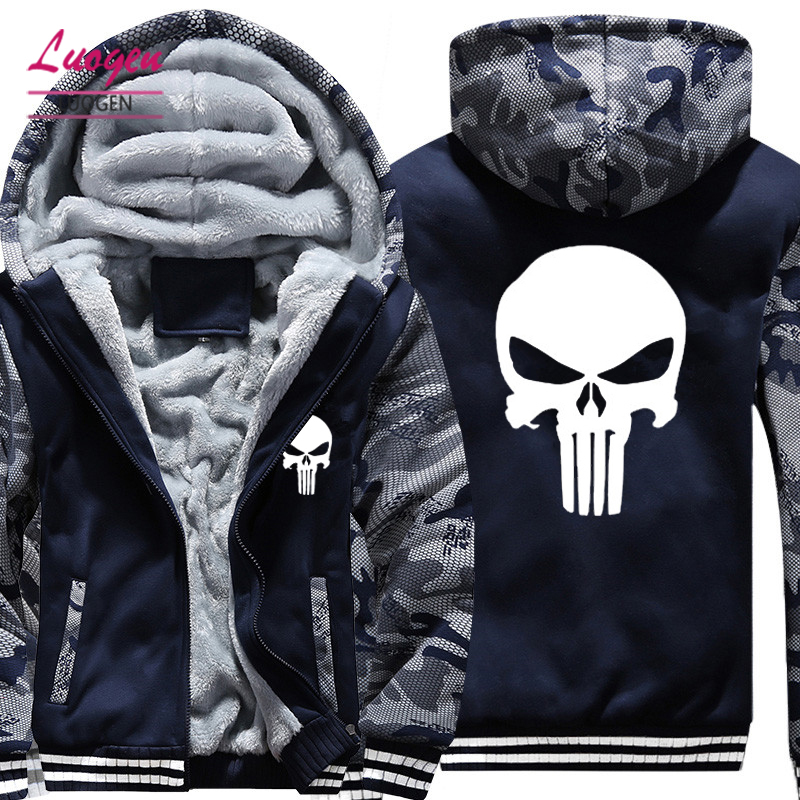 Drop Shipping USA SIZE New The Punisher Printed Men's Hoodies Sweatshirts Warm Men Jackets Casual Zipper Hoodies Winter Coats