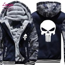 Drop Shipping USA SIZE New The Punisher Printed Men's Hoodies Sweatshirts Warm Men Jackets Casual Zipper Hoodies Winter Coats цена и фото