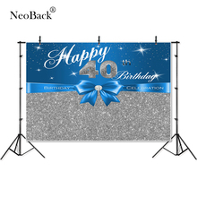 Thin Vinyl present happy 40th birthday glitter twinkling bow Photography studio Backgrounds professional indoor Photo Backdrops
