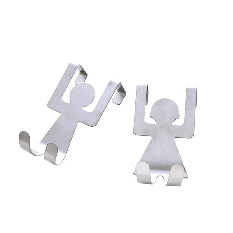 2pcs/pack Space Saving Adorable Lovely No Trace Humanoid Door Back Hooks Hanging Hooks Storage Hook For Home Bedroom Kitchen