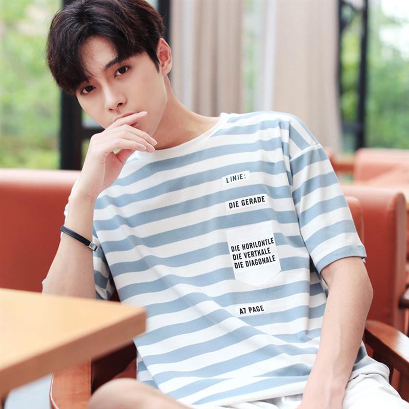 Lettre imprimé hommes T Shirt coton o-cou rayure chemises décontractées pour homme 2019 été Harajuku Hip Hop à manches courtes t-shirts Streetwear