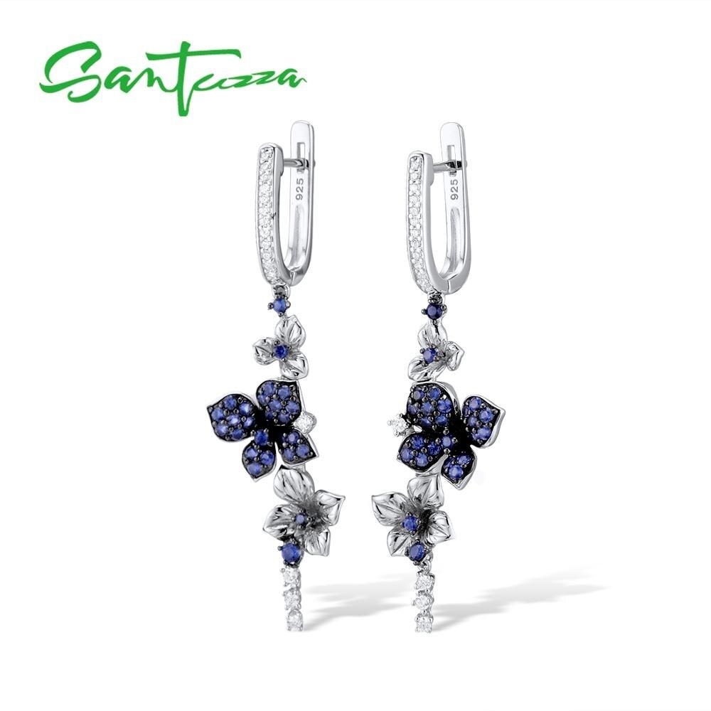 SANTUZZA Silver Earrings For Women Pure 925 Sterling Silver Dangle Blue Butterfly Earrings серьги brincos Fashion Jewelry-in Drop Earrings from Jewelry & Accessories