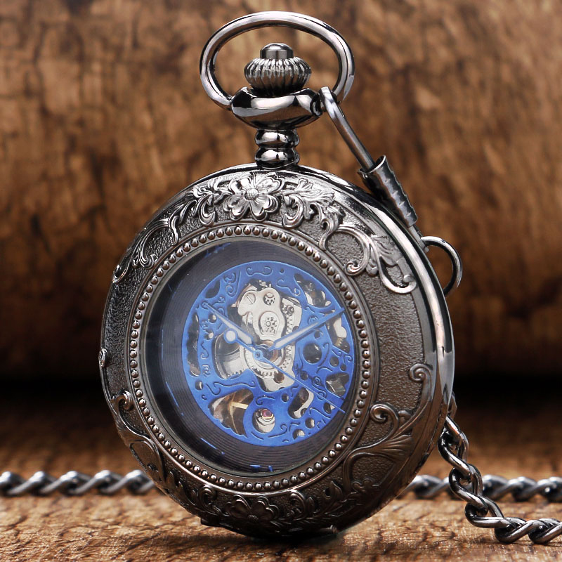 New Arrival Black Flower Pattern Frame Case With Glass & Blue Roman Number Skeleton Mechanical Pocket Watch Men Women Necklace