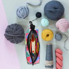 DIY Handmade Crochet Storage Bag With Hook Travel Essential Items Home Sewing Accessories Weaving Beginner Gift Easy To Carry