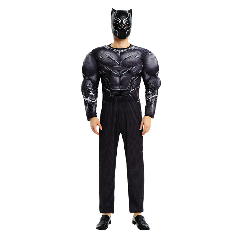 Hot New Arrival Adult Muscle Deluxe Black Panther Costume Marvel Movie The Avengers Superhero Cosplay For Party