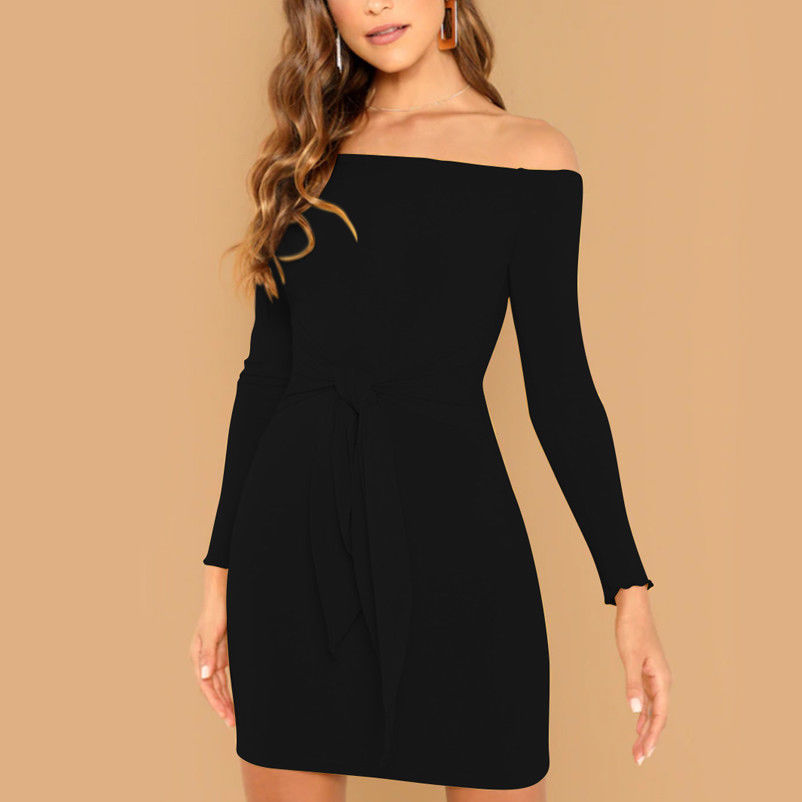 <font><b>Sexy</b></font> <font><b>Off</b></font> <font><b>Shoulder</b></font> Solid Dress Women Winter <font><b>Party</b></font> Long Sleeve <font><b>2018</b></font> <font><b>Elegant</b></font> Pencil <font><b>Bodycon</b></font> Ladies Dresses Vestidos image