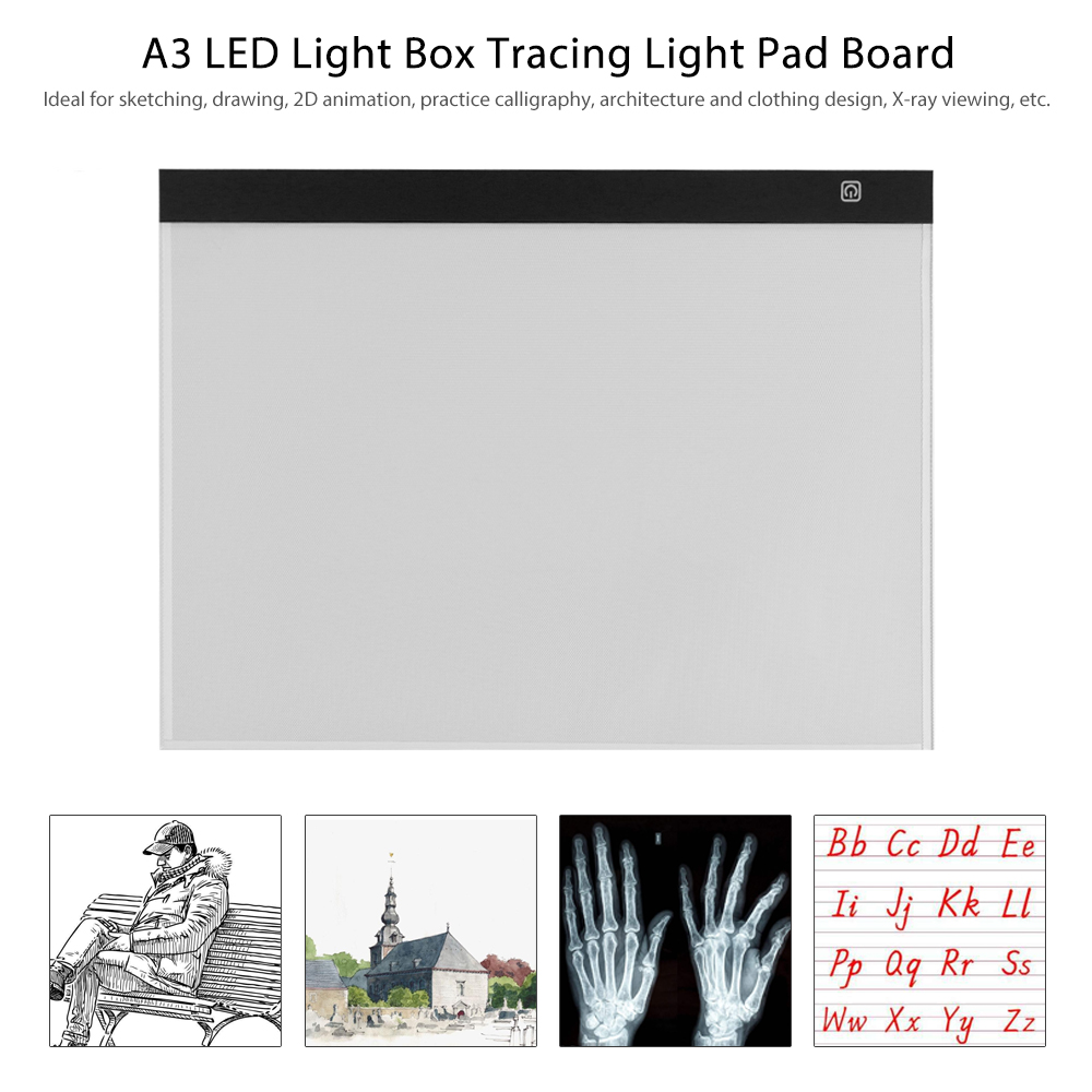 A3 LED Light Box Tracer USB Powered Tracing Light Pad Board 3 Level Adjustable Brightness for