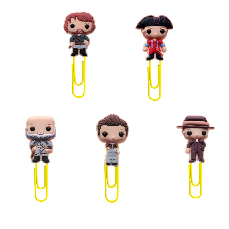8pcs/lot Outlander Cartoon Bookmarks PVC+Metal Paper Clip Book Holder School Office Supplies Kid Stationery Party Gifts