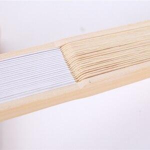 Image 5 - Mới Bằng Gỗ Quạt Giấy Gấp 50 Cái/lốc Trắng Gấp Gọn Thanh Lịch Giấy Tay Quạt Cưới Dự Tiệc 21Cm (Trắng) màu Trơn