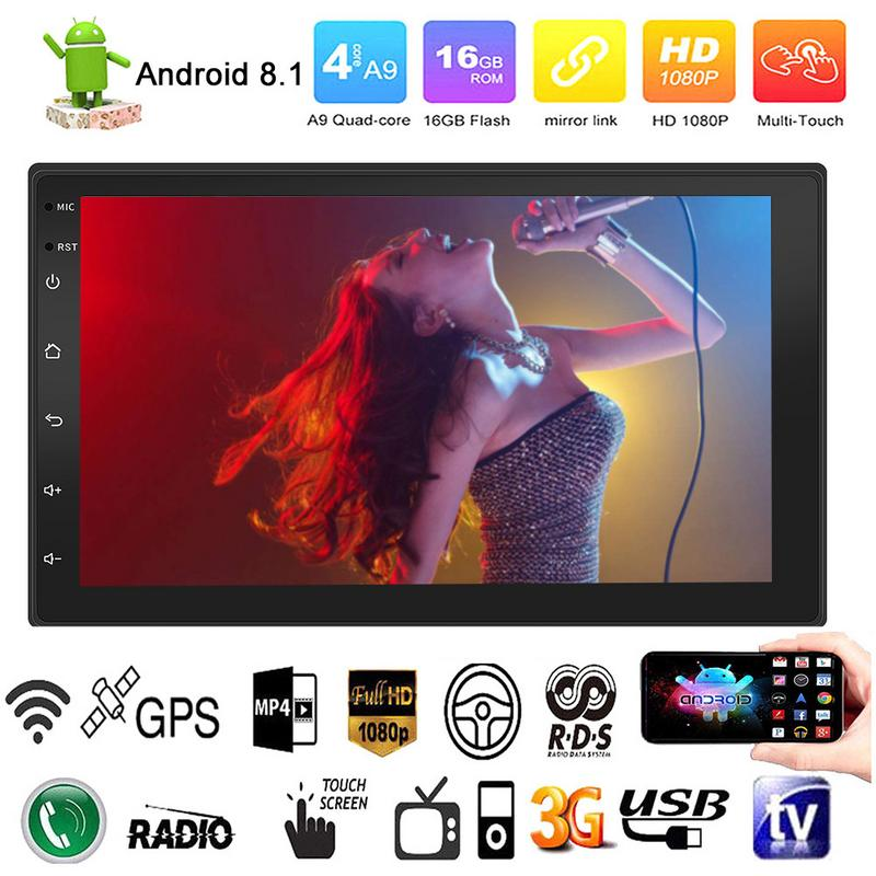 Android 8.1 7Inch 2Din Car Multimedia Player With Radio MP5 GPS Rear View Camera Bluetooth Call Phone Music Touch Screen Button
