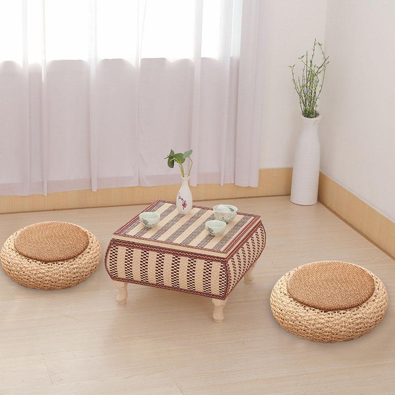 Coussin de paille Tatami tissé à la main sol de balcon coussins en rotin épais Zafu méditation herbe Futon coussin rond tissé à la main