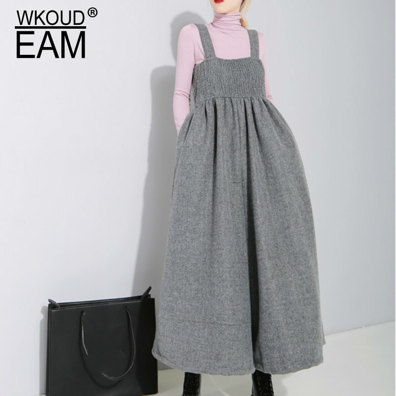 WKOUD EAM 2019 New Spring Loose Strap Vintage Pleated High Waist Ankle-length   Wide     Leg     Pants   Women Fashion Tide OB19