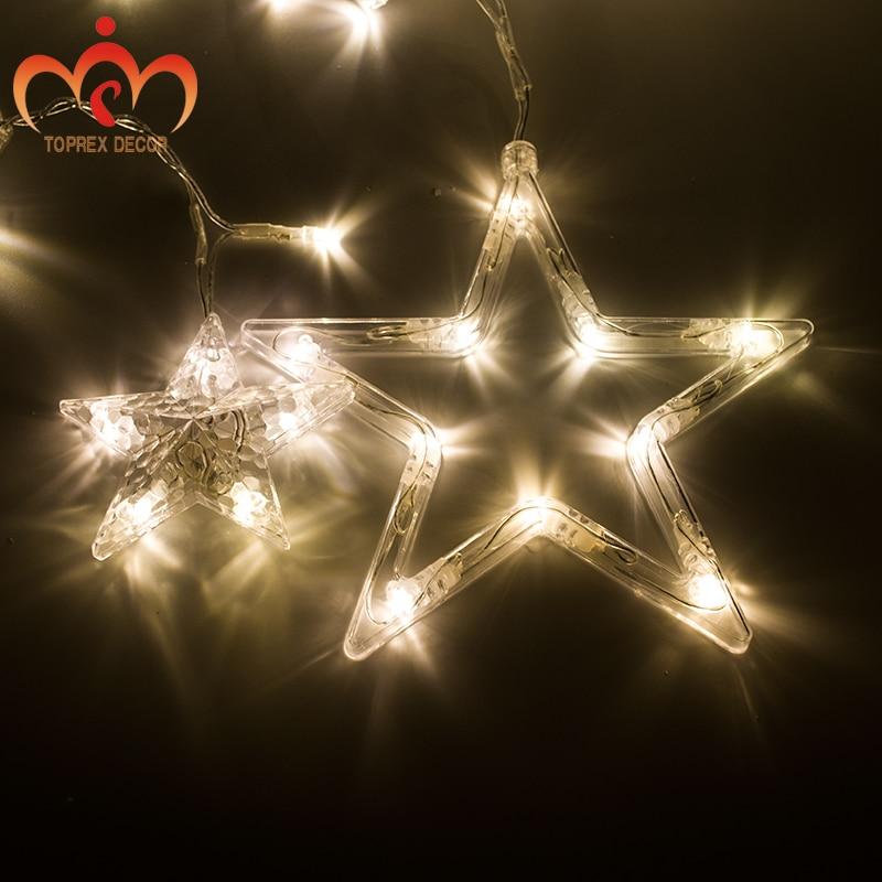 2.5x1.2 m 248 LEDs yanıp sönen LED Beş yıldız LED perde - Şenlikli Aydınlatma - Fotoğraf 2