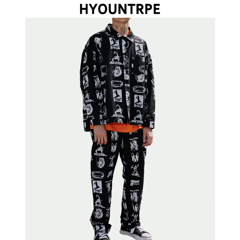 Two Pieces Sets Mens Harajuku Printed Buttons Shirts And Loose Straight Pants 2019 Spring New Fashion High Street 2 Piece Set