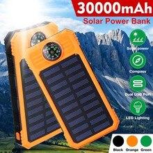 30000MAh Solar Power Bank Waterproof Solar Chargerพอร์ตภายนอกPowerbankสำหรับสมาร์ทโฟนที่มีไฟLEDเข็มทิศ