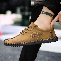 2019 Winter Leather Casual Shoes Men Handmade Vintage Shoes Flats Lace-up Hot Sale Moccasins Chaussure Homme Big Size 38-48