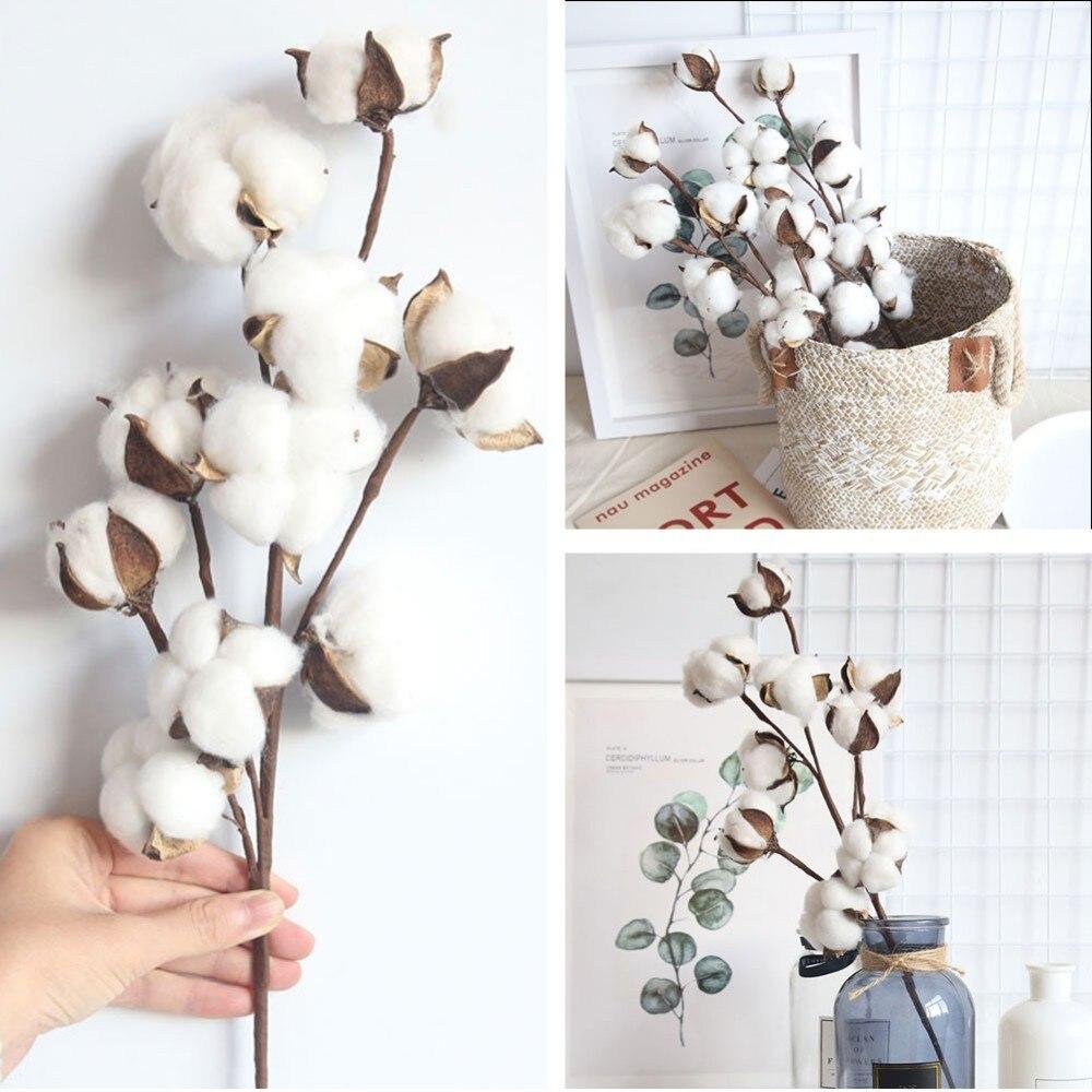 10 cabeças de algodão seco hastes fazenda estilo artificial flor enchimento decoração floral simulação flor diy decoração do casamento