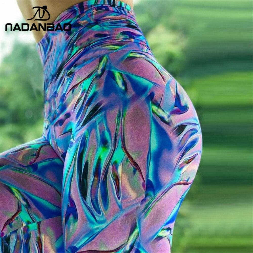 NADANBAO Summer Push Up Colorful High Waist Women Leggings 3D Print Sequin Laser Fitness Legging Sexy Elasticity Legins