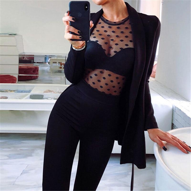 Women Blouses Sexy Ladies Tops Long Sleeve Blouses Women Shirt Polka Dot Print See Through Blouse Ladies Shirt Female Top Blouse