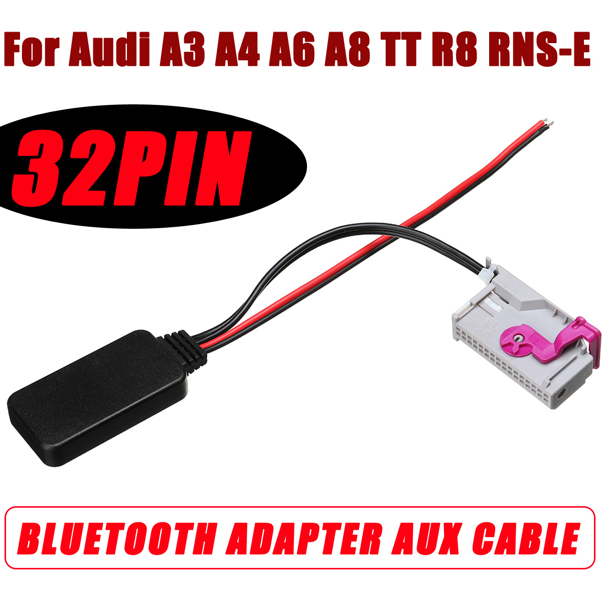 Wireless Bluetooth Adapter Cable For Audi And Volkswagen: For Audi A3 A4 A6 A8 TT R8 RNS E 32Pin Wireless Bluetooth