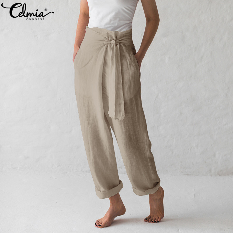 Celmia 2019 Women Bottoms Vintage Linen Wide Leg Pants Casual Female Harem Trousers Loose Long Pantalone Palazzo Feminino S-5XL