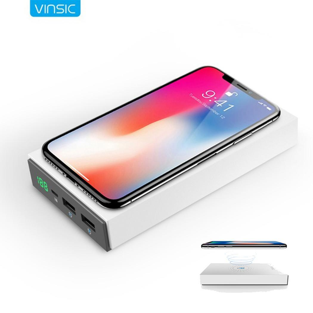 VINSIC 12000mAh Wireless Power Bank Qi Fast Charging External Battery Charger Pack Powerbank for iPhone X Xiaomi Samsung Phone