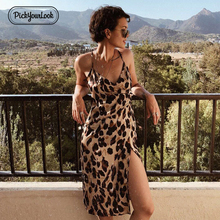 Pickyourlook Leopard Midi Dress Women Sleeveless Summer Spaghetti Strap Fashion Ladies Split Dresses Female V Neck Robe Vestidos