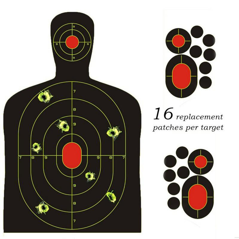 10 PCS 14.5 Inch Human Body Shape Shooting Targets Reactive Splatter Glow Florescent Paper Target For Shoot Training Accessories
