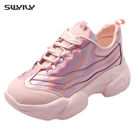 SWYIVY Golden Shoes Women Casual Footwear Sneakers Sliver Casual Shoes Female 2019 New Pink Glossy Ulzzang Sneakers For Woman 40