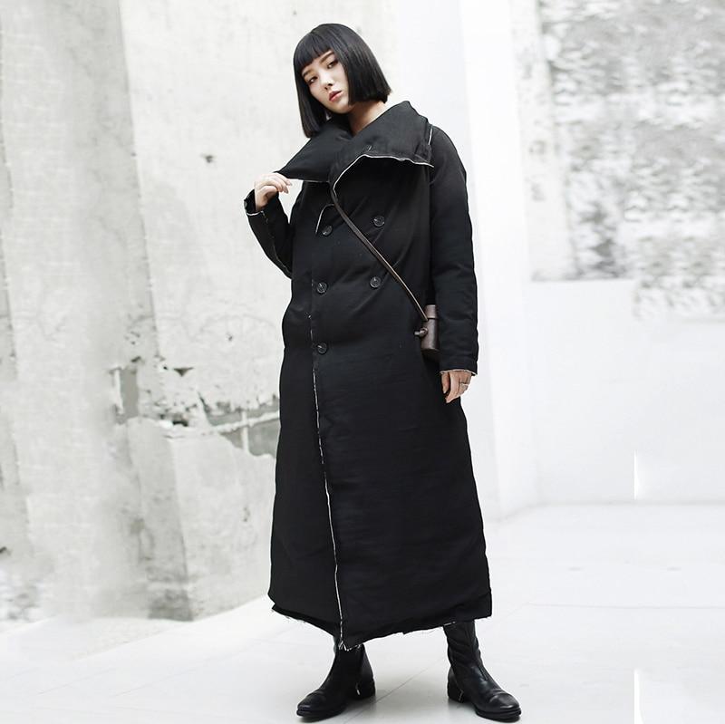 2019 Jk101 Black Manteau Parkas rembourré Long Coton Lâche Nouveau Noir Femmes Longues Épaississement Manches eam Printemps Mode Burr Revers dCTdqA