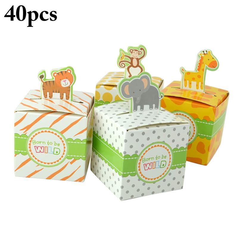 40Pcs Full Moon Celebration Party Gift Box Animal Cartoon Tray Chocolate Candy Box Giraffe*10+ Elephant*10+Monkey*10+Tiger*10