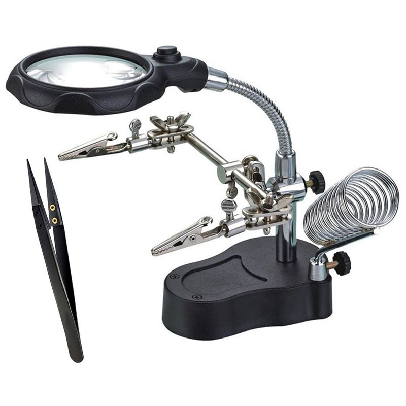 Multi-Functional Welding Magnifier With 3.5X 12X Glasses Magnifying Illuminated Soldering Iron Stand Lens Third Hand Repair To