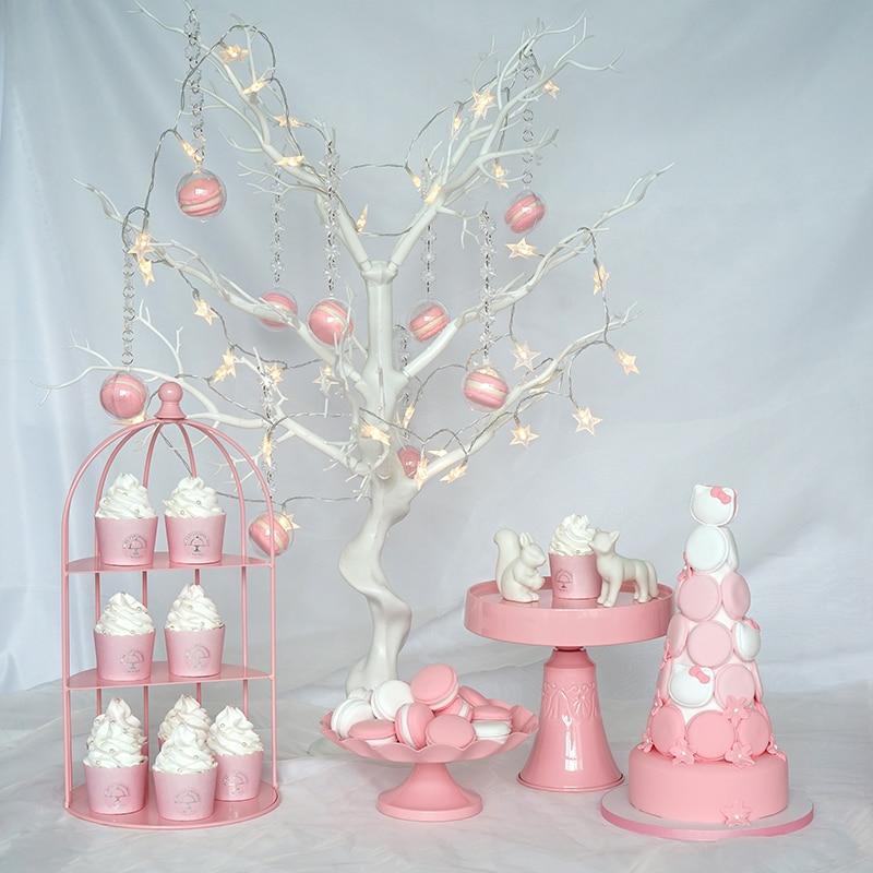 Support de gâteau rose ensemble de gâteau de dessert de mariage de haute qualité