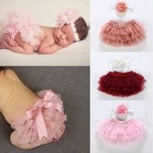 Многослойный балетный костюм для новорожденных девочек, штаны, трусики, юбка-пачка, реквизит для фотосессии, милое бальное платье из 2 предметов