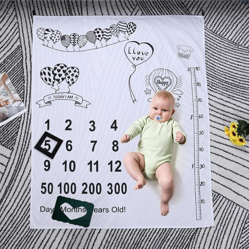 Cartoon Print Blanket Background Cloth Newborn Baby Photography Props Decor Towels Monthly Growth Photo Decor