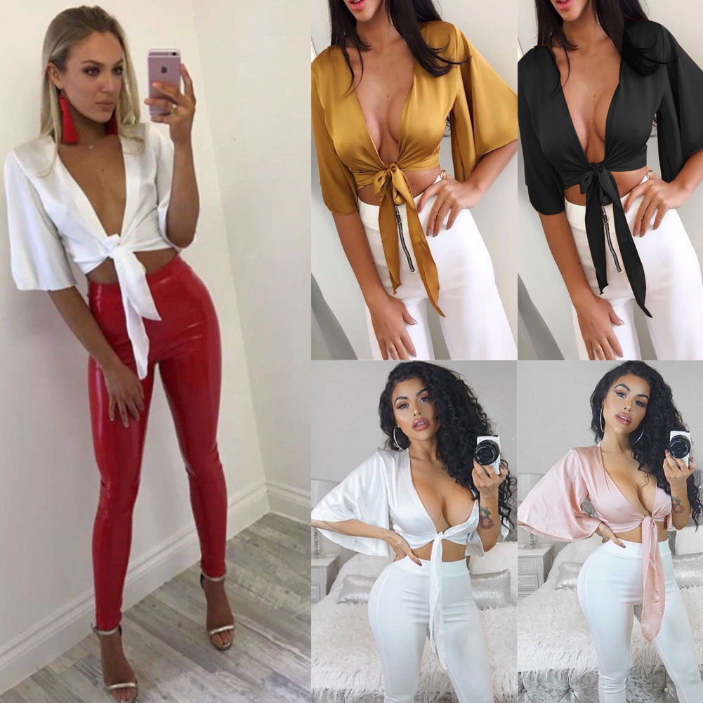 2019 Fashion Women Satin Silk <font><b>T</b></font> <font><b>Shirt</b></font> Tie Knot <font><b>Crop</b></font> <font><b>Top</b></font> Ladies Front Flared <font><b>Sleeve</b></font> Plunge Neck image