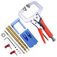 THGS Neue Mini Tasche Loch Jig Kit System Für Holz Arbeits & Tischlerei + Schritt Bohrer & Zubehör Holz arbeit Werkzeug Set-in Schraubenschlüssel aus Werkzeug bei