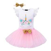 1 Year Birthday dress Baby girl clothes Newborn Unicorn Dress 3-piece Princess baby headband Party Dress Summer Kids clothing цена 2017