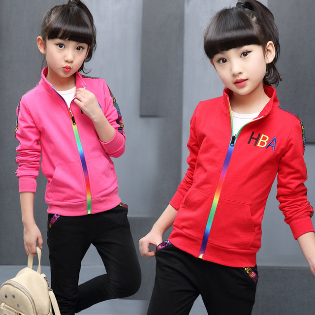 5 color Girls jacket and trousers two piece Sets Fashion Letter stripe print Sports suit autumn clothes for girls clothes set