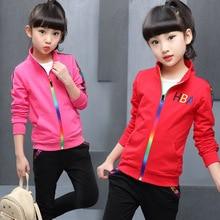 5 màu sắc Cô Gái áo khoác và quần hai mảnh Bộ Thời Trang Thư sọc in Thể Thao phù hợp với mùa thu quần áo cho cô gái quần áo thiết lập