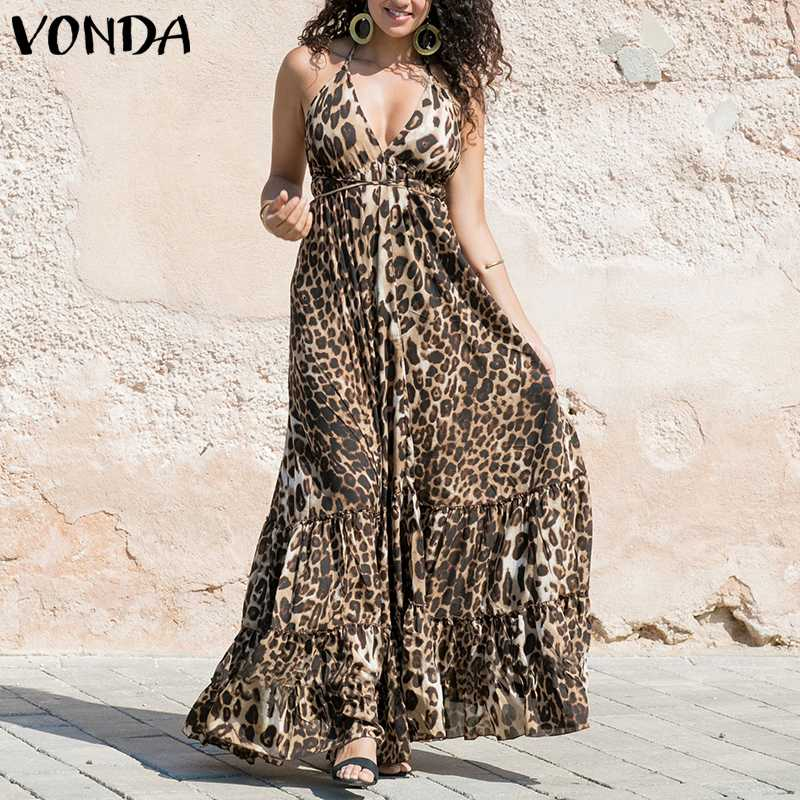 VONDA Women Sexy Leopard Dress 2019 Summer Spaghetti Strap Ruffle Swings Maxi Long Dress Plus Size Sleeveless Party Vestido 5XL