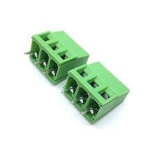 Envío Gratis 100 unids/lote KF128 5,0 MM 3Pin PCB conectores de bloque de terminales de conexión 300V 10A KF128 3P Plug in 5MM verde
