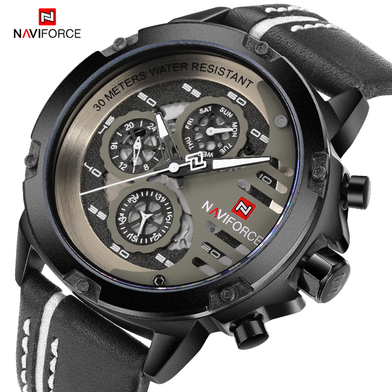 NAVIFORCE Men Creative Big Dial Quartz Sports Watches Waterproof Fashion Leather Analog Wrist Watch Clock Male Relogio Masculino fashion relogio masculino luxury tv dial quartz wrist watch pu leather dress women men unisex clock gifts sports wrist watches